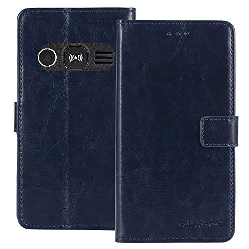 TienJueShi Dark Blau Retro TPU Silikon Flip Book Stand Brief Leder Tasche Schütz Hülle Handy Hülle Für Doro 1361 2.4 inch Abdeckung Wallet Cover Etui