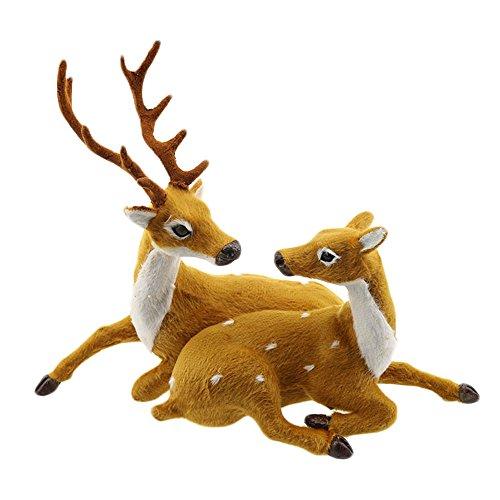 Kicode Parejas Ciervos Decoración de Las Bodas Un Conjunto de Dos Reno Ciervos de la Navidad Elk simulación Artesanía