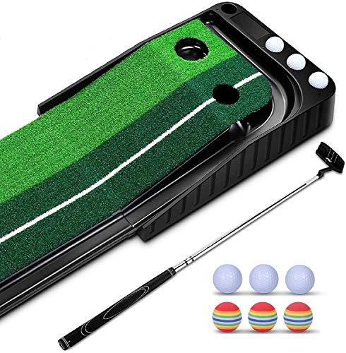 lootaan パターマット ゴルフ練習パット パッティングマット ゴルフ練習器 3m 自動返球 6つボール付き パター練習器具 セット 人工芝 コンパクト 収納可能