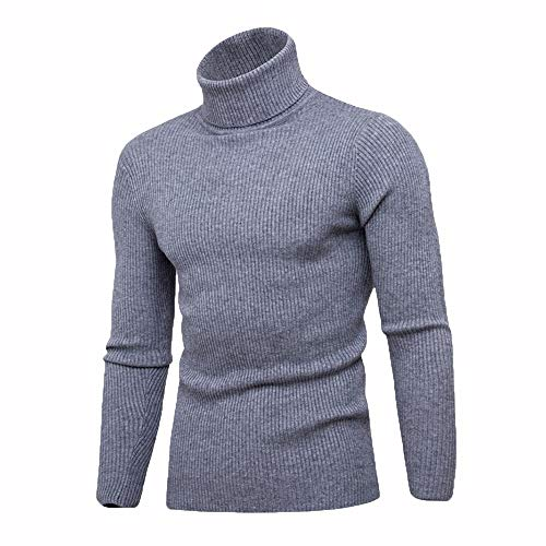 Bowen Jimmy Warm Turtleneck Sweater Men Knitted Mens Sweaters Slim Pullover Male Double Collar Tops Dark Gray1 XL