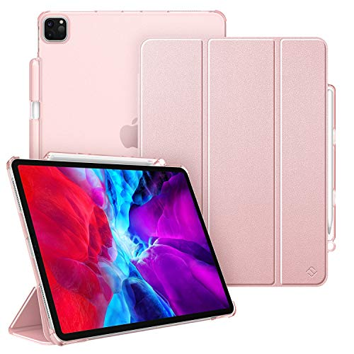Fintie Hülle für iPad Pro 12.9 Zoll 2020 & 2018 (Unterstützt 2. Gen Pencil, kabelloser Ladefunktion) - Ultradünn Schutzhülle mit Transparenter Rückseite Abdeckung, Auto Sleep/Wake, Roségold