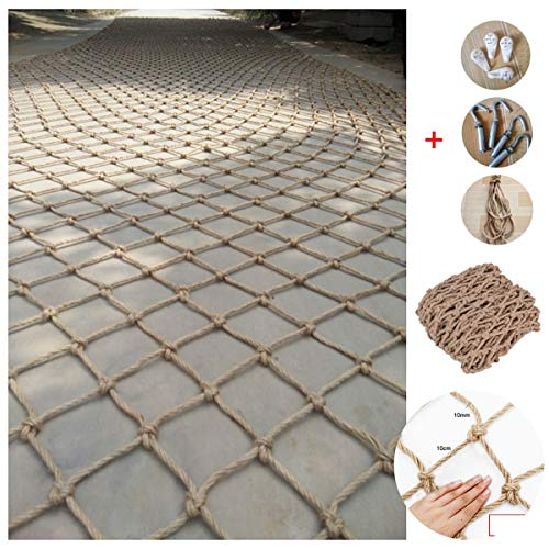 Cargo Trailer Netting Net,Heavy Duty Climbing Net, Safety Netting For Railings/stairs,net Hammock Outdoor/swing/replacement,Natural Hemp Rope Material,10mm/10cm,Multiple Sizes (Size : 1x3m)