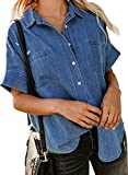 Dokotoo Plus Size Blouses for Women Casual Summer V Neck Short Sleeve Womens Cotton Denim Tops and Blouse for Business Casual Fashion Button-Down Shirts with Pockets Blue XX-Large