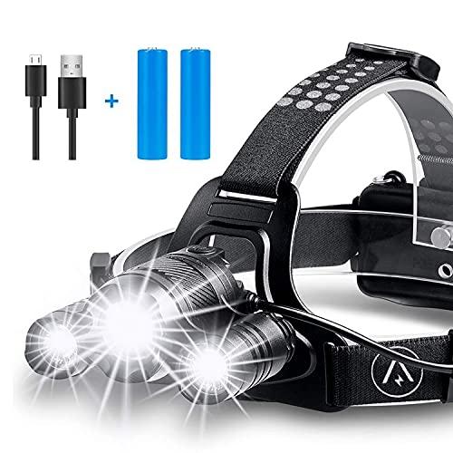 Head Torch, Rechargeable Headlight 6000 Lumen Super Bright LED Lamp, 4...
