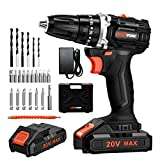 LOMVUM 18V Brushless Cordless Drill (20V Max) Battery Powered Drill with 2 * Lithium-ion Batteries 2.0Ah, 2 Speeds, 24 Accessories, Max Torque 38Nm Self-Tightening Chuck 10mm (2*Battery)