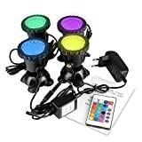ONEVER Led Underwater Spotlight Kit avec télécommande | 4pcs Multicolor RGB Aquarium Lights avec prise EU | IP68 imperméable à...