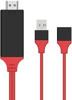 Washinglee Cable de Teléfono móvil a HDMI TV, para Dispositivos iOS y Android a HDTV, Adaptador de Teléfono Celular a TV p...