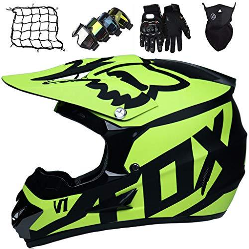 Casco de Motocross para Niños Amarillo Mate Casco de Moto Cara Completa Casco de Todoterreno Descenso para Adultos Unisex con Diseño FOX