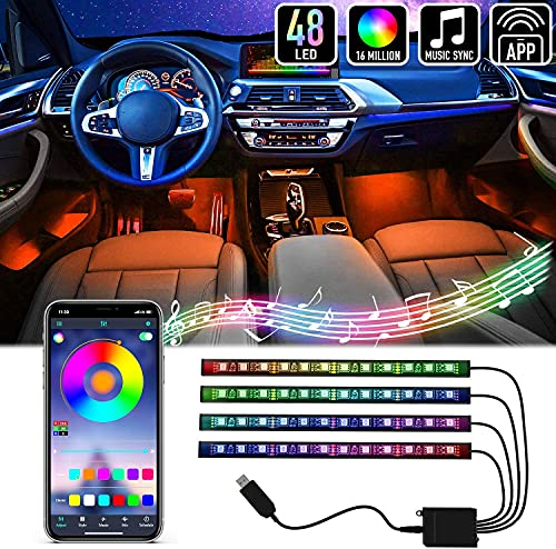 Mega Racer RGB Interior Car Lights - LED Strip Lights for Car, 48 LEDs Over 16 Million Colors, Music Sync App Controlled with iPhone Android Waterproof Under Dash Car Lighting Kit, USB DC 12V