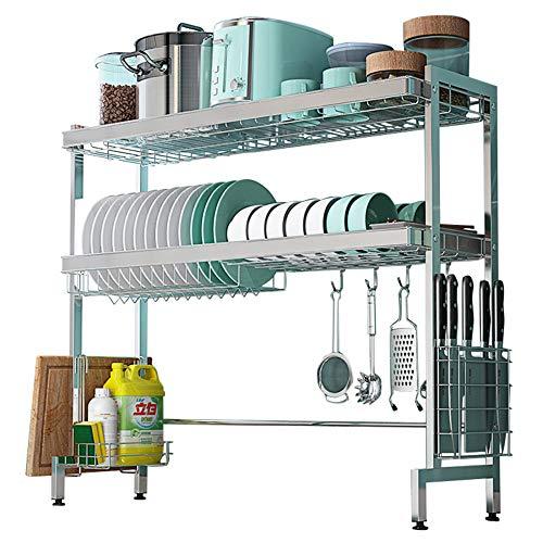 ZY-XSP Rejilla para fregadero de cocina, escurridor de platos de acero inoxidable de 2 capas, rejilla de almacenamiento de vajilla multifuncional para encimera/Los 79CM