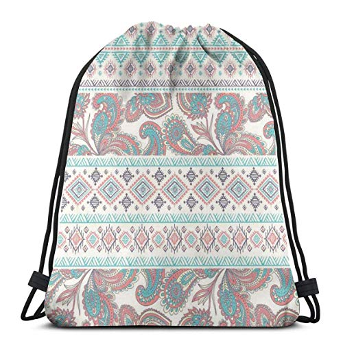XCNGG Bolsos con cordón Bolsa de deporte para gimnasia de viaje, patrones de Paisley en azteca nativo en diseño étnico floral de patrón mixto