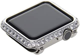 Callancity 38mm Rhinestone Diamond Metal Case Plated Platinum Compatible with Apple Watch Series 1/2/3 Makes Constanly Get Compliments (Platinum, 38mm Non Ceramic)