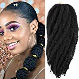 1 Pack 18 Inch Long Afro Kinky Marley Twist Braids Hair Extensions Kanekalon Synthetic Hair Marley Braiding Crochet Braids Hair (1B#)