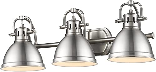 Golden Lighting 3602-BA3 PW Duncan Bath Fixture, Pewter with Pewter Shades