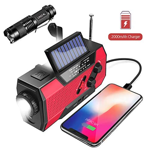 Emergency Weather Radio,Omew Portable Solar Hand Crank NOAA Weather Radio with AM/FM, LED Lamp, 2000mAh Power Bank Phone Charger, SOS Alarm and Waterproof Handheld Flashlight 3