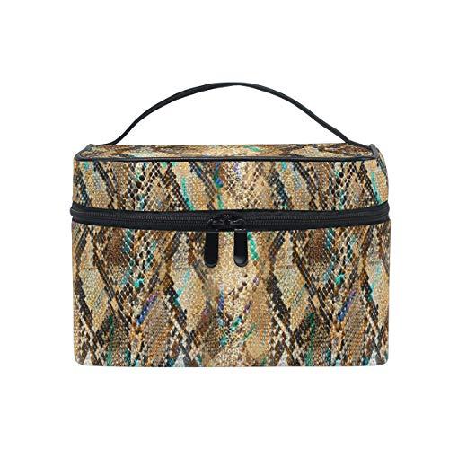 HaJie - Bolsa de maquillaje de gran capacidad con impresión de piel de serpiente animal de viaje, portátil, neceser de almacenamiento, bolsa de lavado para mujeres y niñas
