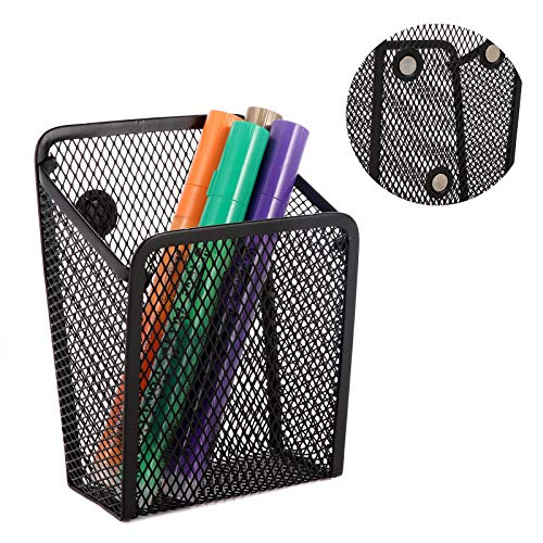 SKEMIX Magnetic Pencil Holder, Mesh Storage Basket Metal Organizer with Strong Magnet, Marker/Pen Cup for Whiteboard, Refrigerator, Locker Accessories, Office Supplies (Black)