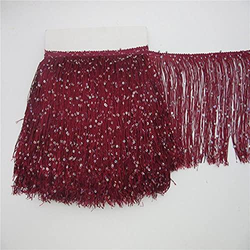 1 yarda 20 cm de largo de poliéster lentejuelas borla flecos encaje cinta coser vestido latino escenario ropa cortina accesorios-1 yarda, rojo vino