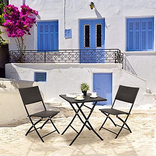 Conjunto de Muebles Plegables (1 Mesa y 2 Sillas), Juego de Muebles de Jardín, Fácil de Limpiar, Muebles de Ratán para Exteriores Balcón Jardín Piscina Patio Restaurante, Impermeable (Negro)