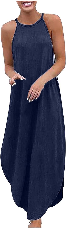 Sun Dresses Women Summer Women's Loose Plus Size Denim Sleeveless Solid Color Vest Long Dress Womens Dresses
