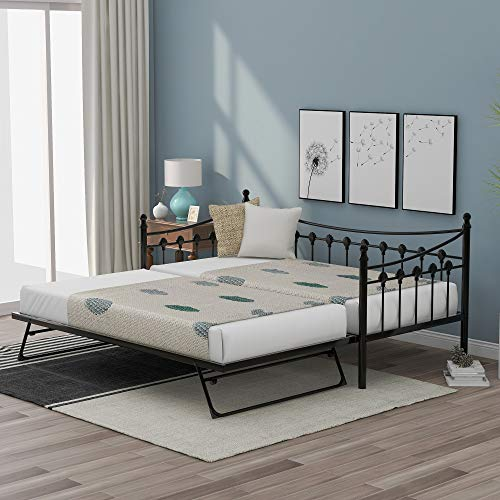 3FT Metal Daybed Guest Bed With Trundle For Guest Room Children Bedroom,Solid Sofa bed in Black (190x90cm)