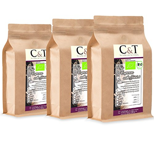 C&T Bio Espresso Crema | Cafe entkoffeiniert 100 % Arabica 3x1000 g ganze Bohnen Gastro-Sparpack im Kraftpapierbeutel