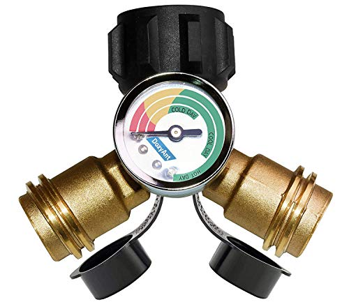 DOZYANT Propane Splitter, Propane Tank Y Splitter Adapter with Propane Gauge, 2 Way LP Gas Adapter Tee Connector for 20 lb Propane Tank Cylinder, Work with Grill Appliances