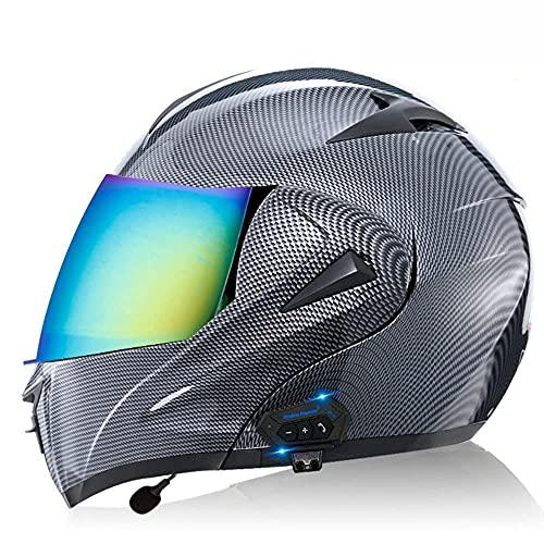 KLWJ Casco abatible con Bluetooth, Casco Bluetooth Integrado para Motocicleta con Doble Visera, Casco de Motocicleta Casco abatible Hombres y Mujeres Aprobado por ECE - Respuesta automática - XS ~ XL