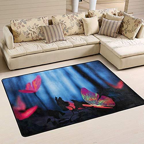 Fun-World Area Rug Tapis de Papillon coloré Tapis coloré Moderne pour Salon Chambre à Coucher Tapis de Chambre de bébé Lavable en Machine,150X100Cm