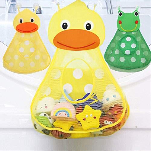 FHFF Netztasche Baby Badespielzeug Aufbewahrungstasche Badewanne Rahmen Cartoon Frosch Entlein Wandbehang Netztasche Bad KinderGrün