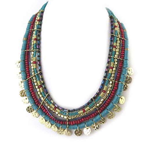 Les Trésors De Lily N8140 - Schöpfer collier 'Altaï' rot türkis gold.