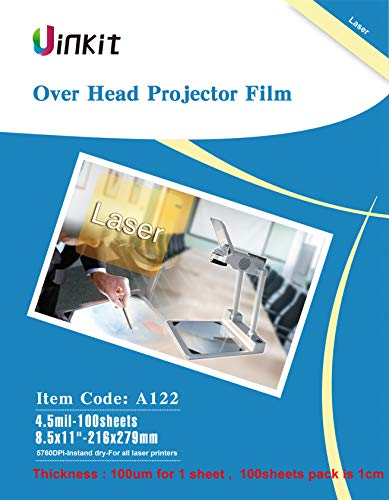 OHP Film Overhead Projector Film - 8.5x11 for Laser Jet Printer and Copier Transparency Film 100 Sheets Uinkit