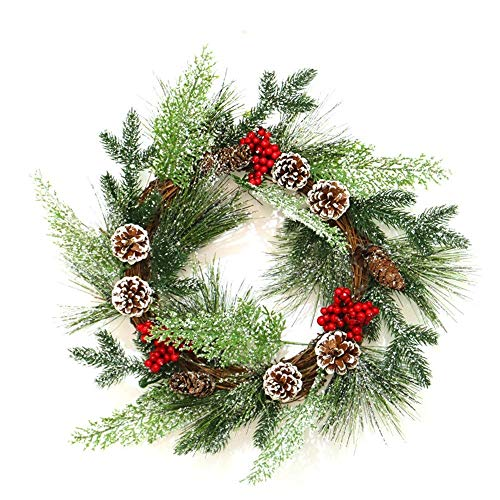 ZGQA-GQA Christmas Wreath 45cm Snow Pine Cone Berry Home Bar Mall Window Door Hanging Decoration Large Door Hanging Winter Wreath Front Door Garlands (Color : Green, Size : 45cm outer diameter)