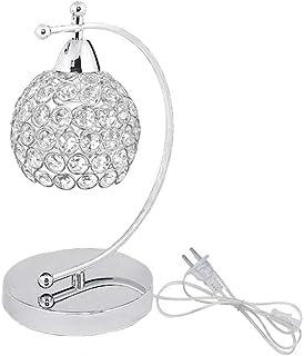 Onerbuy Lámpara de mesa de cristal moderna Enchufe en la mesita de noche Lámpara de escritorio de mesita de noche de plata cromada con interruptor de encendido / apagado en línea