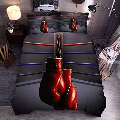 Bcvvsovs® Funda Nórdica 3D - Guantes De Boxeo Rojos 150X200 Cm Niños Ropa De Cama (1 Funda De Edredón + 2 Fundas De Almohada 50X75Cm) Cama Individual Doble Cama King