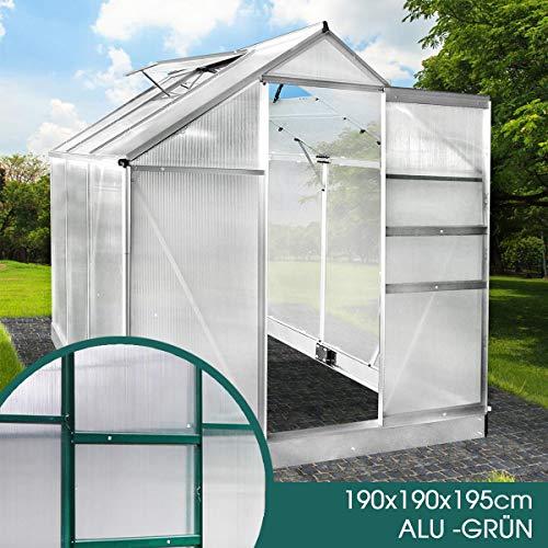 BRAST Gewächshaus Aluminium mit Fundament rostfrei 190x190x195 Grün 4mm Platten Alu Treibhaus Glashaus Tomatenhaus