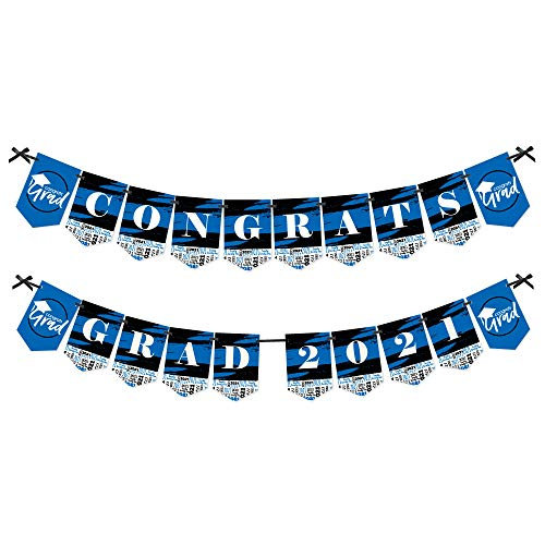 Big Dot of Happiness Blue Grad - Best is Yet to Come - Royal Blue Graduation Party Bunting Banner - Party Decorations - Congrats Grad 2021