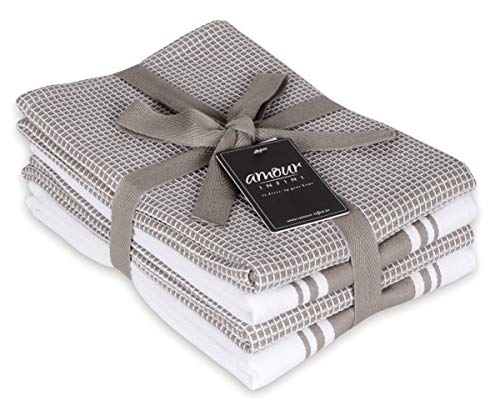 AMOUR INFINI Classic Kitchen Towels | 2 Stripe + 2 Waffle | 28 x 20 Inch, Over Sized | Multi-use Dish Towels |100% Ring…