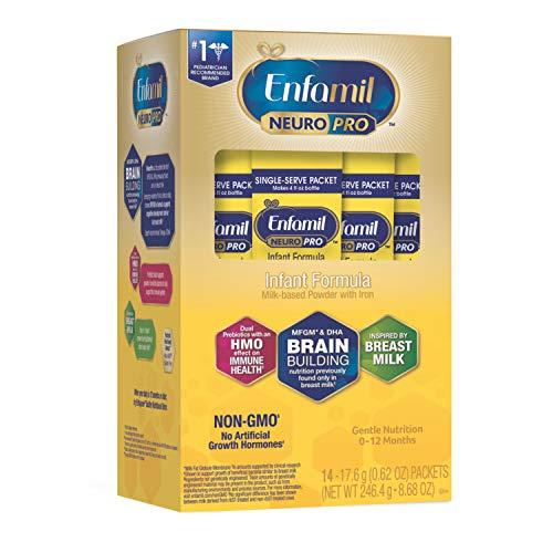 Enfamil NeuroPro Infant Formula Powder Single Serve Packets, Brain and Immune Support with DHA, Iron and Prebiotics, Inspired by Breast Milk, Non-GMO, 0.62 Oz packets (14 count)