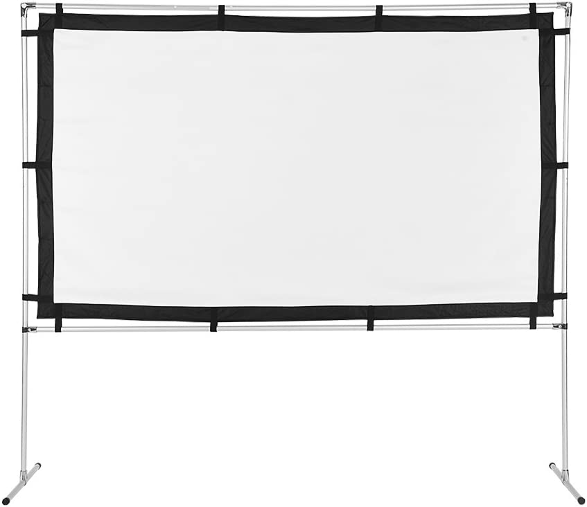 Wal front Portable Projector Screen HD 16:9 Canvas Projection Screen Foldable for Home Indoor Outdoor Theater Movies Screen with Stand and Carrying Bag (100 inch)