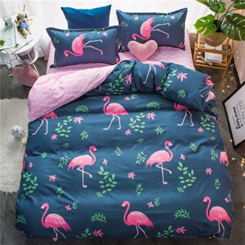 HQWL Classic Bedding Set Rustic Style Summer Four-piece Set,pink Bird,Super King