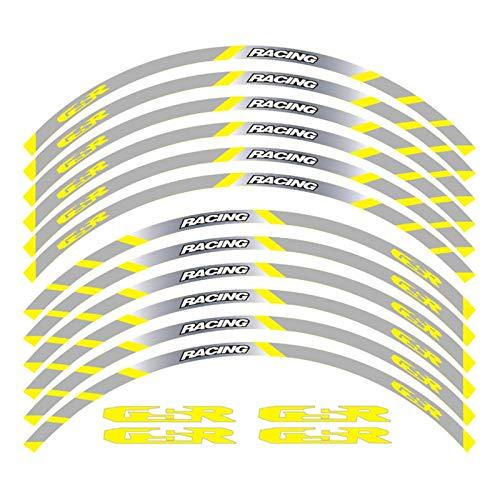 Bazutiwns Un Conjunto de calcomanías de Ruedas de Motocicleta de 12 unids Impermeable Reflectante Pegatinas Ramas de llanta para Suzuki GSR HSLL (Color : Yellow 2)