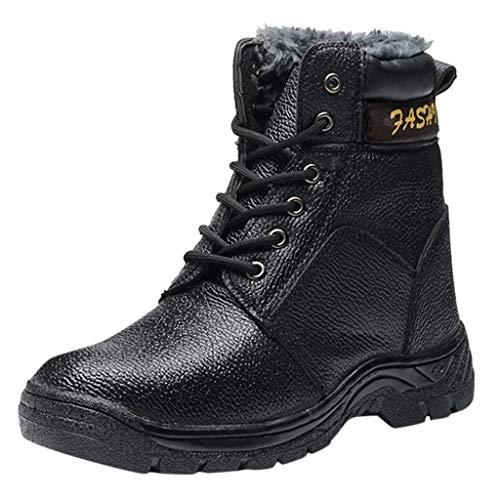 ELECTRI Bottes Femme Hiver Fourrure, Chaussure de Ville Bottines à Lacets en Nubuck Imperméable Bottines de Neige Fourrées Chaude Confortable Boots, Antidérapant Noir