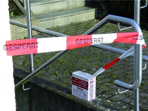 LEMAX® Absperrband rot/weiß-geblockt Gesperrt 500m 80mm