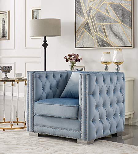 Iconic Home Christophe Club Chair Velvet Upholstered Button Tufted Nailhead Trim Shelter Arm Design Silver Tone Metal Block Legs Modern Transitional, Blue