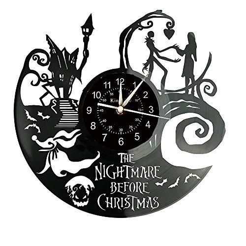 Smotly Vinilo Pared Reloj, un Reloj de Pared Grande con un Tema Pesadilla Antes de Navidad, Regalo Creativo del Reloj de Pared Hecha a Mano.