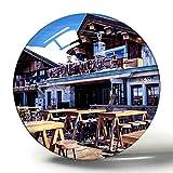 Hqiyaols Souvenir Meribel Francia La Folie Douce Meribel-Courchevel Imán de Nevera de Recuerdo 3D Imanes de Nevera de Cristal de círculo de Regalo de Viaje