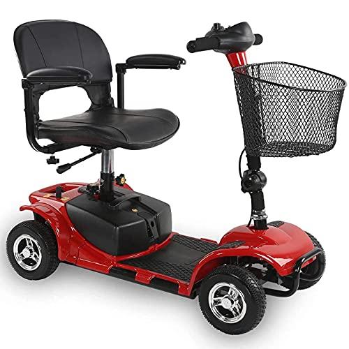 Scooters de movilidad para personas mayores, 4 ruedas, sólido, todo terreno, resistente, dispositivo eléctrico para silla de ruedas para adultos que viajan con un rango de 10 millas, móvil