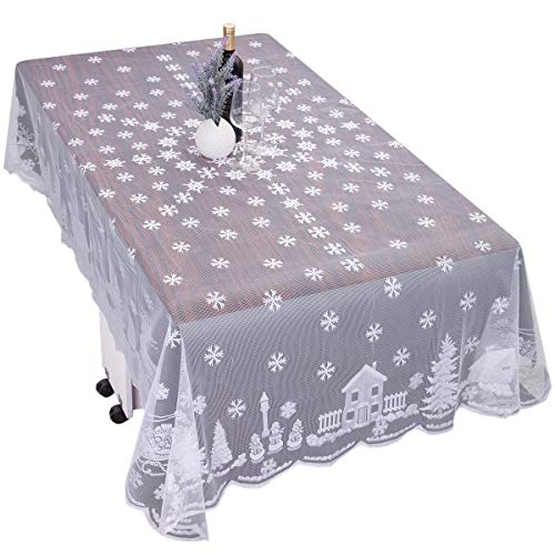 mookaitedeocr 101-102 Inch Polyester Lace Tablecloth, White Snowflakes Reindeer Rectangular Table Cover for Christmas Thanksgiving Wedding Parties Table Decor