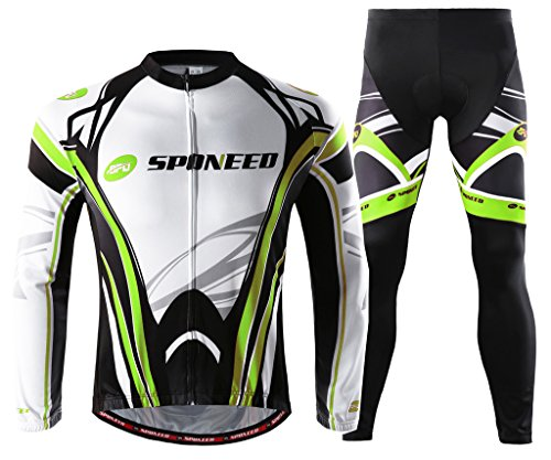 Sponeed Men's Suit for Cycling Long Sleeve Road Bike Clothing MTB Jersey and Pants Bike Wear US L Green